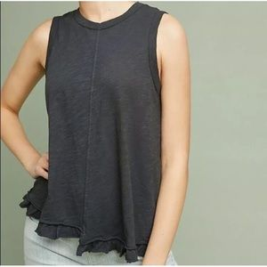 Anthro Left of Center Puglia Ruffle Tank Gray Med